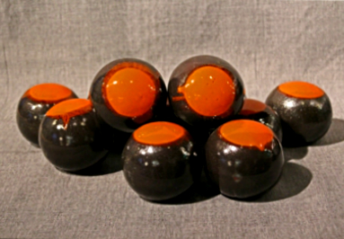 4 Orange on dark brown fireball
